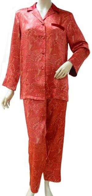 レッドプリントのシルクサテン・パジャマ2色