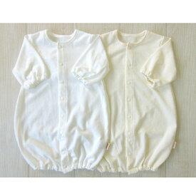 【日本製】天竺ジャガード 麻柄ツーウエイオール 新生児 出産準備品 ホワイト ベージュ 化学染料不使用 綿100% ドレスオール 数量限定でミトンプレゼント