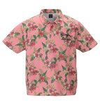 鹿の子ボタニカル総柄プリント半袖ポロシャツ