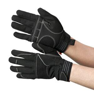 作業手袋 [布施商店] PU+人工皮革 黒/黒 手の甲にもクッション材を使用 TVC−102 グローブ 作業手袋 作業用手袋 [M/L/LL]