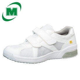 静電作業靴 ミドリ安全 男女兼用 通気構造 メッシュ メンズ対応可 エレパス 307 22.0〜28.0(EEE)cm [静電靴 静電気防止 静電気除去 帯電防止] ホワイト マジックタイプ ベルクロ