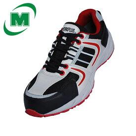 軽量! 安全作業靴 軽量 樹脂先芯 スニーカー ひも靴 ワークプラス MJ311 シルバーグレー/レッド[作業靴:蒸れない・通気性が良い・涼しい・快適]
