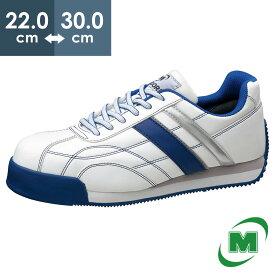 安全作業靴 ミドリ安全 男女兼用 軽量 樹脂先芯 スニーカー ワークプラスクラシック WPC111 ホワイト×ブルー