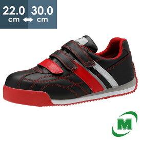 安全作業靴 ミドリ安全 男女兼用 軽量 樹脂先芯 スニーカー ワークプラスクラシック WPC555 ブラック×レッド