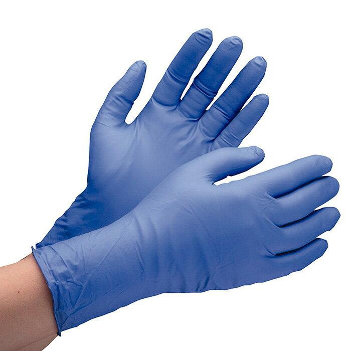 ニトリル製手袋【100枚入】 粉なし ミドリ安全 ニトリル手袋 厚手タイプ 粉なし パウダーフリー ベルテ701H ブルー (100枚入) 作業手袋 作業用手袋 [SS/S/M/L/LL]