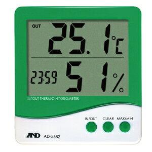熱中対策 エー・アンド・デイ A&D 熱中対策 時計付き温湿度計 AD-5682 デジタル 外部温度センサー付 [温度計 湿度計 指数計][暑さ対策 夏用 冷感]