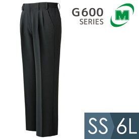 ミドリ安全 スラックス G600 下 メンズ レディース サービス・接客用 作業着 制服 パンツ ブラック SS-6L 仕事着