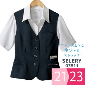 ベスト [セロリー SELERY] 03811 レディース オフィスウェア (ストレッチ/スマホポケット/背抜き仕立て) ネイビー 21・23号 制服 ユニフォーム 事務服 通勤服 仕事着