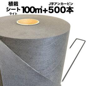 送料無料 クラピア専用 お得な植栽シート1m×100m(100m2)+J字型ピンのセット(500本)セット 防草シート アンカーピン