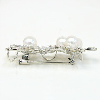 パールブローチ(6515)コサージュ花桜シルバーアコヤ真珠7.0〜8.0mm母の日入学式卒業式フォーマル結婚式パーティー送料無料あす楽
