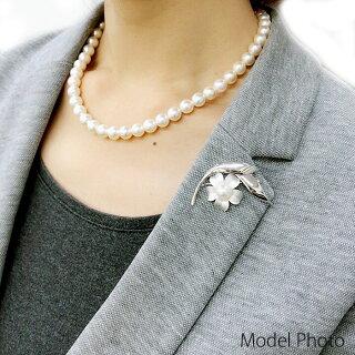 パールブローチ(6525)コサージュシルバーアコヤ真珠8.5mm花入学式卒業式フォーマル結婚式パーティー母の日送料無料あす楽
