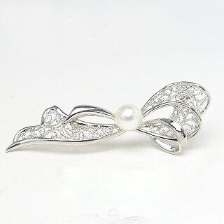 パールブローチ(6527)コサージュエレガントリボンシルバーアコヤ真珠8.5mm入学式卒業式フォーマル式典セレモニー結婚式ブライダルパーティー母の日送料無料あす楽