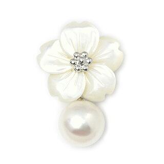 パールブローチ(6556)アコヤ真珠8.0mmピンブローチさくらシェル貝ラベルピンタイタックネクタイピンタイニーピン入学式卒業式結婚式パーティープレゼント母の日送料無料あす楽