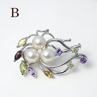 パールブローチ(6562)アコヤ真珠6.5〜7.0mmシルバー宝石天然石入学式卒業式結婚式パーティープレゼント母の日送料無料あす楽