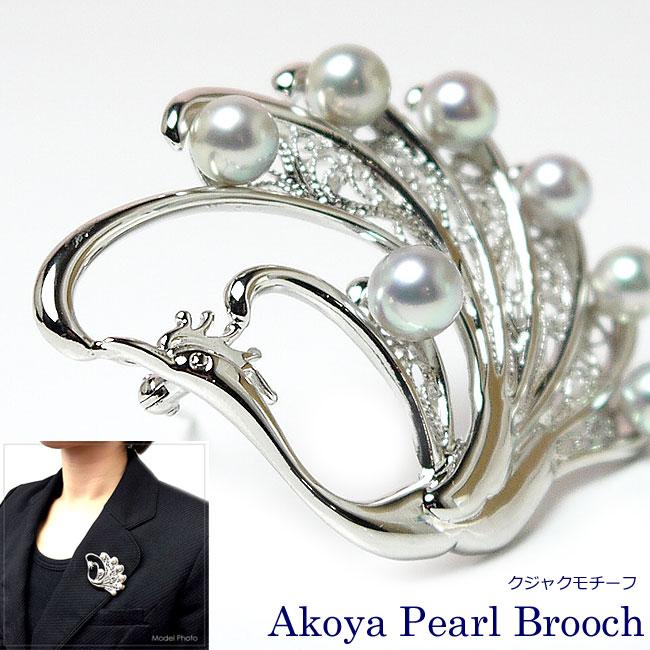 パール ブローチ(6444) アコヤ真珠 6.0〜7.0mm グレー シルバー 孔雀 鳥モチーフ 結婚式 パーティー プレゼント 母の日 送料無料 あす楽