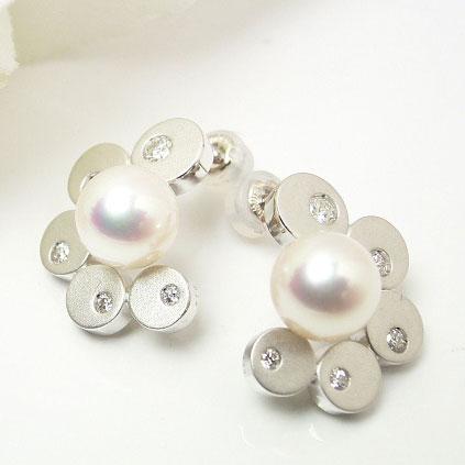 パール ピアス(5102) アコヤ真珠 ダイヤモンド K18WG ホワイトゴールド レディース 入学式 卒業式 結婚式 パーティー プレゼント 母の日 送料無料 あす楽