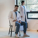 ホワイトインスピレーションモチーフ シェフコート☆Le maison cotton lab coat (White) #AJ1828☆ユニフォームデザイナー専門ブランド a.mont☆飲食店・ホテル・
