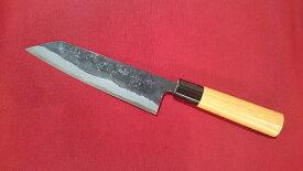 青紙 イナサ型 165mm 文化包丁 青紙 黒打 けやき柄包丁