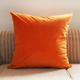 送料無料 ベロア オレンジ 60cm クッションカバー 単品 クッションカバー ベルベット 単品 無地 シンプル 黄色 角型 おしゃれ 洗える cushion 北欧 クッション cover ギフト