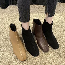 送料無料 ショートブーツ ブーツ レディース ショート ソックス 歩きやすい スエード 靴 おしゃれ シンプル カジュアル ベーシック 靴 ヒール5CM