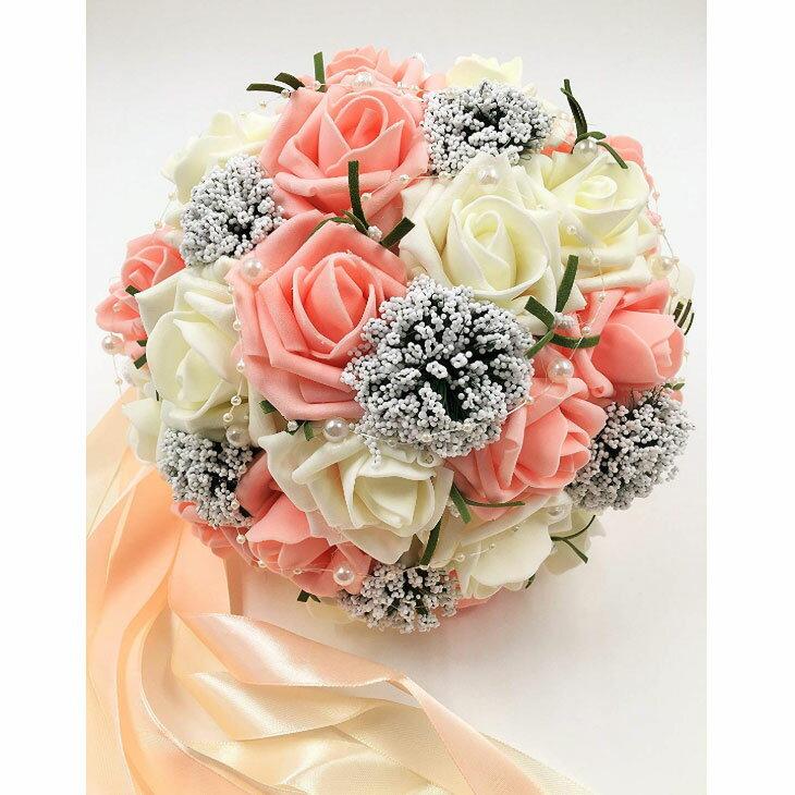 【送料無料】ウェディング ブーケ 結婚式 ブライダル フラワー パール付き 選べる カラー 6種類 (02 サーモンピンク&ホワイト)