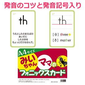 大判(A4)みいちゃんママのフォニックスカード132枚入。発音のコツと発音記号が書かれているから超便利