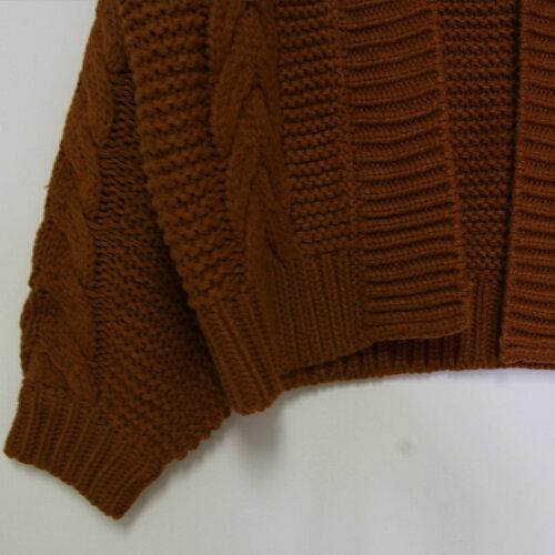 ニットカーディガン冬ざっくりニットカーディガンカーディガン厚手レディースケーブル編みざっくりアウター