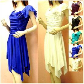 8d0aec0408b97 ワンピース ダンス衣装 フレアスカート パーティードレス 袖あり アシンメトリー ランダム ドレープ シンプルで上品なワンピースドレス ダンス衣装  ドレス ロング ...