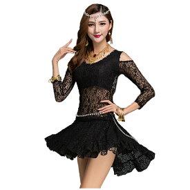 ダンス衣装 トップス スカート セットアップ 上下セット オフショル アシンメトリー レース メッシュ 個性的 韓国 社交ダンス ヒップホップ ベリーダンス モダンダンス ラテンダンス ステージ衣装 ブラック 黒 ミカドレス cr207-mcv zss
