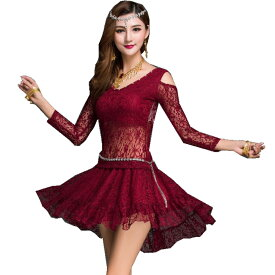 ダンス衣装 トップス スカート セットアップ 上下セット オフショル アシンメトリー レース メッシュ 個性的 韓国 社交ダンス ヒップホップ ベリーダンス モダンダンス ラテンダンス ステージ衣装 レッド 赤 ワイン ミカドレス cr207-mcv zss