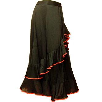 樂天市場排名第一位! 弗拉門戈服裝裙子跳舞服裝、 佛朗明哥洋裝,舞廳,合唱固體對角線 2 階段 paipingscatmika 花邊裙 (6973 常數 2 偏見-m)