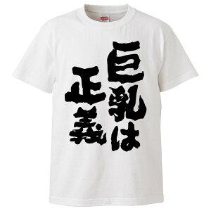 おもしろTシャツ 巨乳は正義 ギフト プレゼント 面白 メンズ 半袖 無地 漢字 雑貨 名言 パロディ 文字