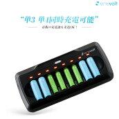 【送料無料】ニッケル水素充電池対応充電器単3形・単4形兼用最大8本まで充電可能!放電機能リフレッシュ機能【PSE認証済】