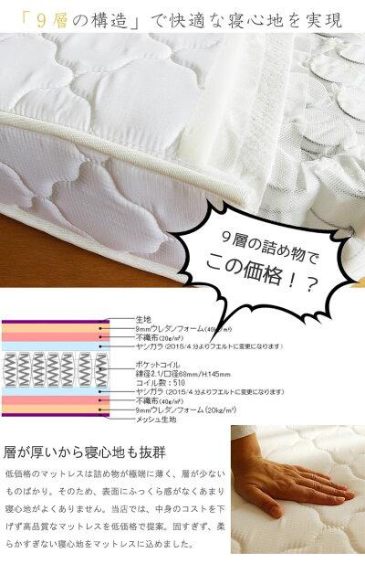 ダブルベッドマットレス世界基準認証ポケットコイルスプリング【sm】折りたたみ[G2]