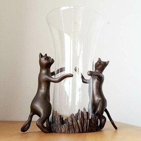 アンティークな 猫の ガラスベース 花瓶 ねこ 鋳物 送料無料 【アウトレット/out】【QSM-100】【2D】