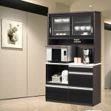 食器棚完成品光沢のある木目模様が美しいキッチンボード幅120cmモイス仕様ホワイト/ブラウンレンジボードSOKキズ、熱に強いメラミンポストフォーム天板開梱設置送料無料m015-kiz-120r-bk[G2]