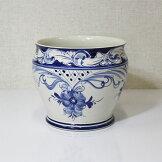 イタリア製プランター鉢カバー陶器花瓶つぼ置物青染【即納】[G2]【アウトレット/out】【ne】
