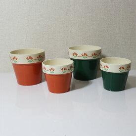 イタリア製 プランター【4個セット】 鉢カバー 陶器 花瓶 つぼ 置物【即納】【アウトレット/out】【QSM-60】カントリー【2D】