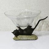 猫のガラスコンポートガラス花瓶つぼ置物鋳物アンティーク風【即納】[G2]【アウトレット/out】【ne】
