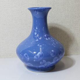 花瓶 結晶柄 陶器 つぼ 置物【即納】ブルー【アウトレット/out】【QSM-60】【2D】