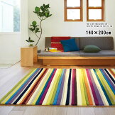 ラグストライプラグ140×200長方形四角いラグ明るく鮮やかな虹色のラインデザインラグ防ダニ加工抗菌防臭加工ホットカーペット対応ミックスカラーPR10【RGm160】【ne】