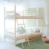 ベッドシングルベッドお姫様2段ベッドエレガンスな白家具【シングルベッド×2台】二段ベッド大型配送便送料無料すのこベッド【PR1】低ホルムアルデヒド丈夫なアイアンベッドツインベッド[G2]