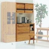 天然木ホワイトオークの落ち着いたスライド食器棚キッチンボードオープン幅120cmSOK【ws】【OK】開梱設置送料無料[G2]