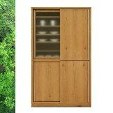 天然木ホワイトオーク/ウォールナットの落ち着いたスライド食器棚キッチンボード幅118cmSOK【ws】【OK】【OK】【UR5】[G2]