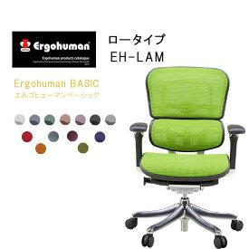 Ergohuman Basic エルゴヒューマンベーシック ロータイプ EH-LAM【肘付・ロータイプ】高機能 メッシュバック チェア  【送料無料】【QSM-260】  t001-【JG】