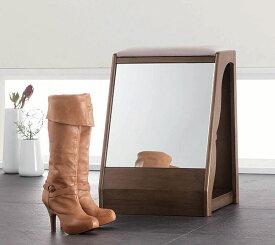 スツール ベンチチェア 椅子 玄関収納 ブーツ収納 鏡付き 玄関家具 便利 アイデア商品 人気【QSM-60】