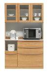 食器棚幅115cmナチュラルウォールナット(ブラウン)上下分割式完成品レンジボード食器棚キッチンボードモイス(moiss)仕様alders-115r