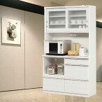 キッチンボード食器棚完成品光沢のある木目模様が美しいキッチンボード幅120cmモイス仕様ホワイト/ブラウンレンジボードキズ、熱に強いメラミンポストフォーム天板m015-kiz-120r-wh