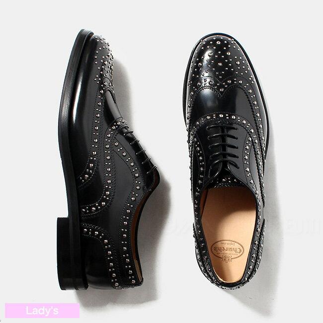 チャーチ Church's レディース バーウッド BURWOOD MET スタッズ付 レザーシューズ 革靴 BLACK DE0002-9XV【送料無料】
