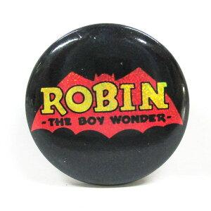 【BATMAN バットマン】 缶バッジ Mサイズ 『ロゴ・ラメ/ロビン』 ROBIN・ピンバッジ・バッチ・DCコミックス・DC・アメキャラ・アメコミ・アメリカン雑貨・アメリカ雑貨